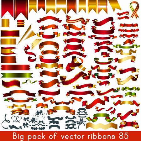 feestelijk: Grote verpakking of inzameling van vector linten en banners voor elke vakantie of gebeurtenis ontwerp
