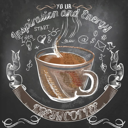 coffee mill: Coffee vector  poster in vintage style drawing with chalk on a blackboard with coffee inspiration and energy on all day long