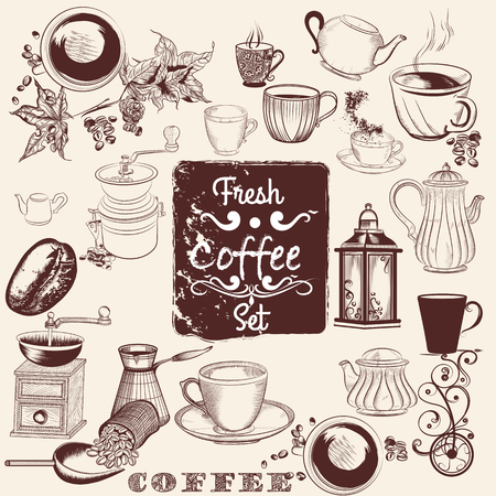 hand set: Collection or set of vector hand drawn coffee elements for design Illustration