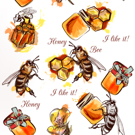 comb: Seamless wallpaper pattern with bees honey and comb