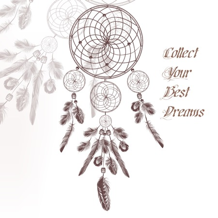Illustration with hand drawn dream catcher in engraved style collect your best dreams