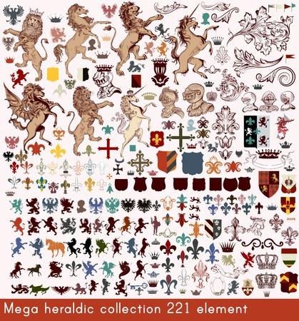 medieval: Mega collection of vector heraldic elements in antique style 221 element for your design