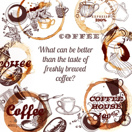 freshly: Coffee vector background with hand drawn mugs coffee mills spots and roasted grains what can be better than the taste of freshly brewed coffee