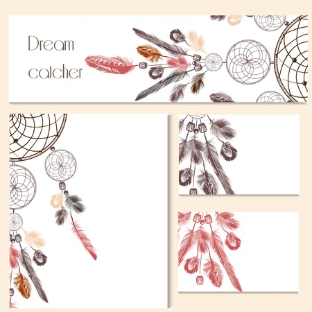 dreams: Corporate identity templates with hand drawn dream catcher for design Illustration