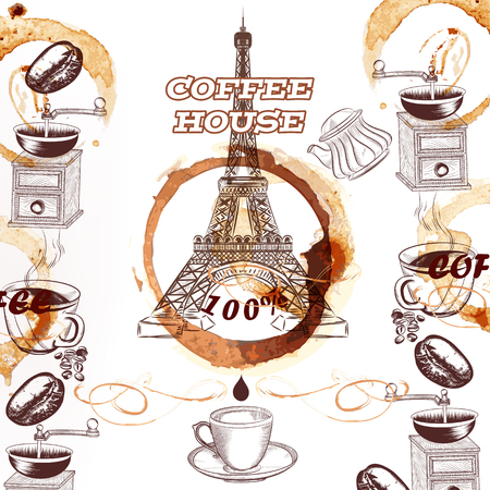 tower: Coffee vector background with hand drawn Eiffel tower mugs coffee mills spots and roasted grains advertising poster or menu for coffee house or cafe Illustration