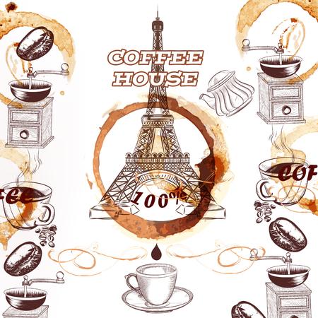 taza cafe: Fondo del vector de café con dibujado a mano de la torre Eiffel tazas de café molinos de manchas y granos tostados cartel publicitario o el menú de la casa de café o café