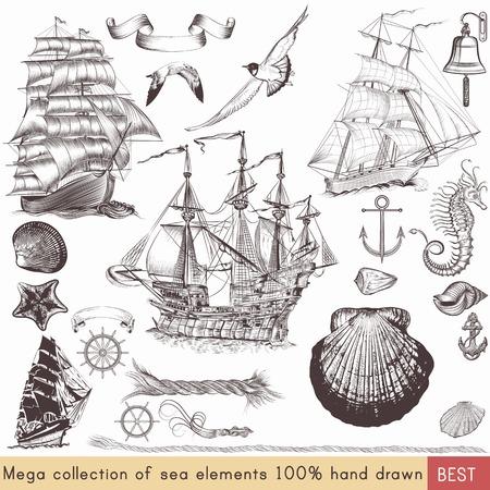 Mega nautische pack met schepen, schelpen en andere zee-elementen voor uw ontwerp