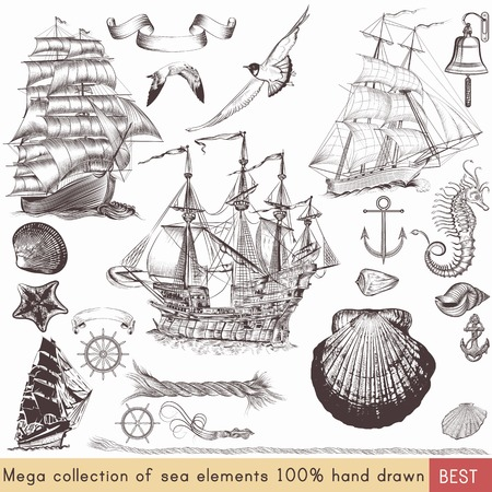 Mega nautical pack with ships, shells and other sea elements for your design Illustration