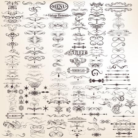 marcos decorativos: Conjunto o colección de vector de elementos decorativos para el diseño caligráfico Mega