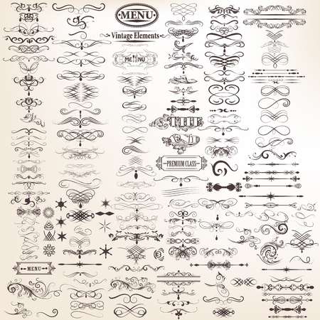 Mega set o raccolta di vettore elementi decorativi calligrafici per la progettazione Archivio Fotografico - 47750730