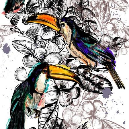 Beautiful seamless wallpaper pattern with tropical flowers and toucan birds