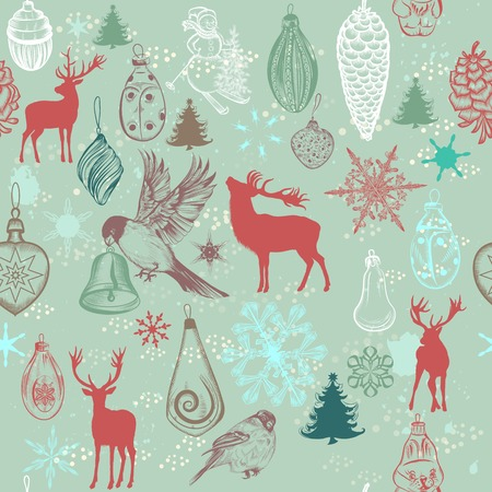 deer: Christmas seamless pattern with hand drawn Xmas tree decorations snowflakes deer trees birds snowmen baubles and snow in retro pastel tones Illustration