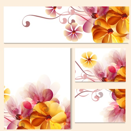 orange abstract: Corporate identity templates with abstract pink and orange flowers for design Illustration
