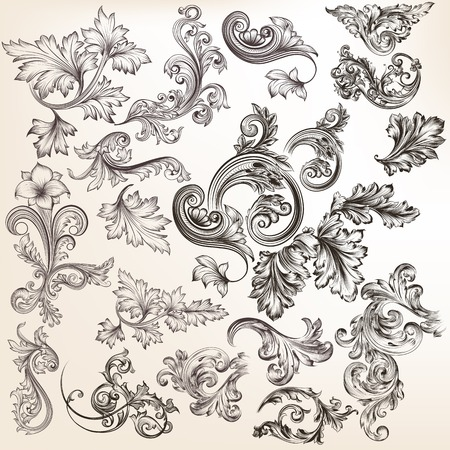 scroll: Mega collection or set of vector hand drawn ornaments for design in vintage style Illustration