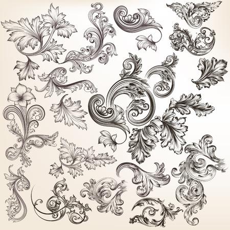 schriftrolle: Mega Sammlung oder einen Satz von Vektor Hand gezeichneten Ornamente für Design im Vintage-Stil