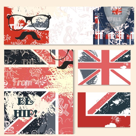 fashion design sketch: Corporate identity templates in hipster style with shrubby British flag and hipster accessories Illustration