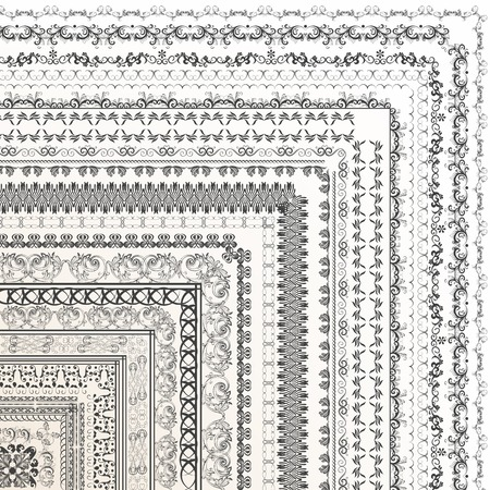 victorian frame: Set of vector decorative borders from ornament for design Illustration