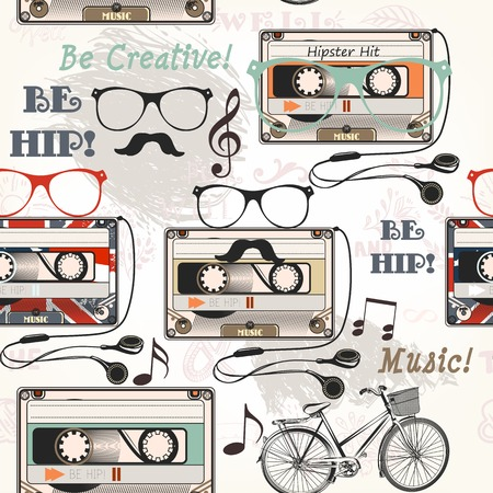 hippie: Hipster vector seamless background with old cassette headphones notes bike and glasses