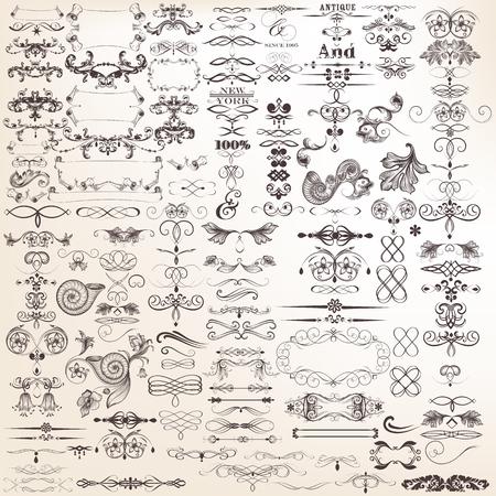 bordes decorativos: Conjunto o colección de vector de elementos decorativos para el diseño caligráfico Mega