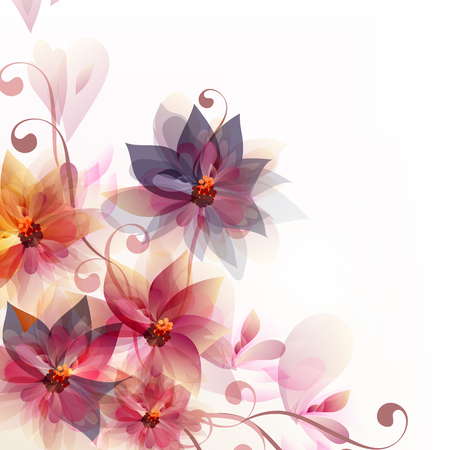 Abstract floral vector background with pink and orange flowers for backgrounds or templates designs