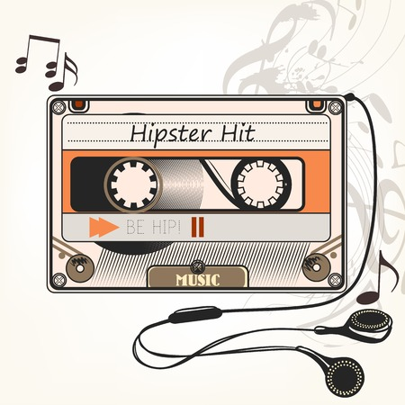 hand print: Hipster vector music background with old cassette and headphones hipster hit symbol