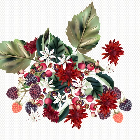 Beautiful floral background with chrysanthemums flowers and berries for design