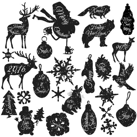 biggest animal: Christmas stickers set in grunge style in different shapes snowflakes deer toys snowmen bird