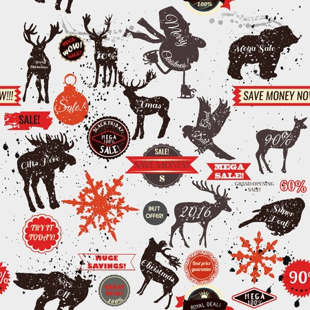 biggest animal: Grunge seamless background with stickers labels and animal shapes Christmas sale theme