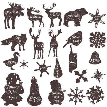 biggest animal: Christmas stickers set in grunge style in different shapes snowflakes deer toys snowmen birds and other
