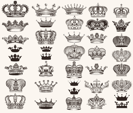Mega collection or set of vector high detailed crowns for design Çizim