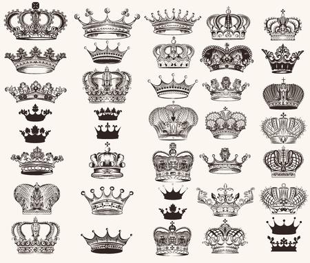 Mega collection or set of vector high detailed crowns for design Illustration
