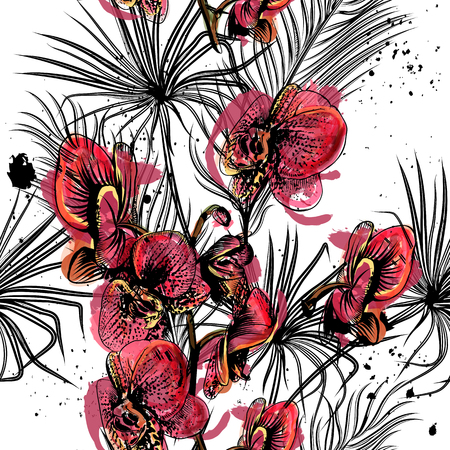 orchid isolated: Seamless background with orchid flowers and tropical palm leafs in engraved and watercolor styles