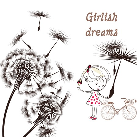 girlish: Background with dandelion, bicycle and little girl girlish dreams