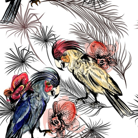 two parrots: Vector seamless pattern with orchid flowers, parrots and tropical palm leafs in engraved and watercolor styles