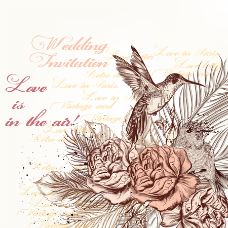 hummingbird: Hand drawn beautiful background card or invitation with engraved roses and hummingbird in a fly Illustration