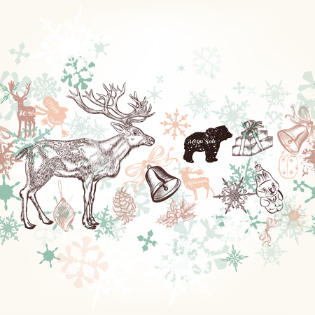 soft colors: Christmas vector background in soft colors with snowflakes and animals