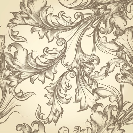 classic style: Vector seamless background with flourishes in classic Victorian style