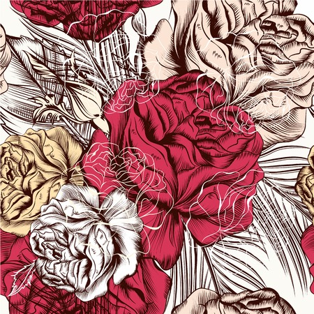 deep pink: Hand drawn seamless wallpaper pattern with roses for design