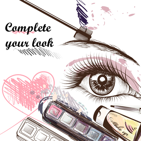 Fashion  background with make up accessories mascara shadows and other cosmetic  and beautiful female eye complete your look Illustration