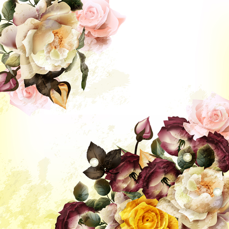 flower rose: Grunge vintage background with realistic  roses