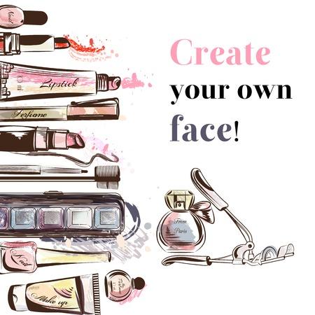 ファッションの背景にはメイクアップ アクセサリー マスカラー香水口紅爪影と他の化粧品は、自分の顔を作成します。  イラスト・ベクター素材