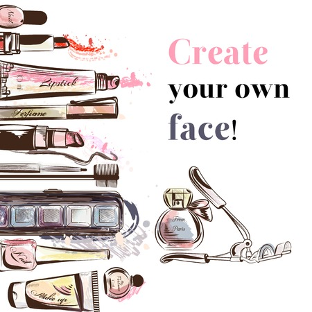 make up face: Fashion  background with make up accessories mascara perfume lipsticks nail shadows and other cosmetic create your own face