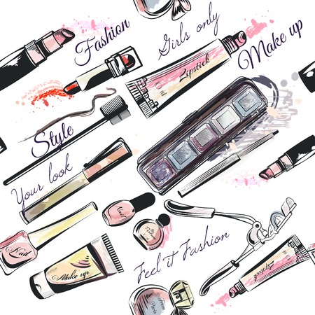 beauty products: Beauty and fashion seamless pattern with cosmetic eye shadows perfumes lipstick mascara and other in watercolor style
