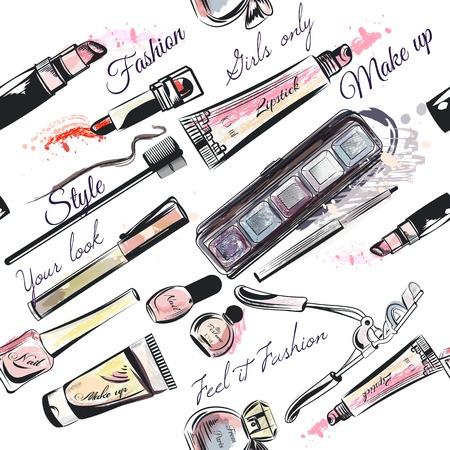 cosmeticos: La belleza y la moda patrón transparente con rimel sombras de ojos cosméticos perfumes lápiz labial y otra en estilo de la acuarela