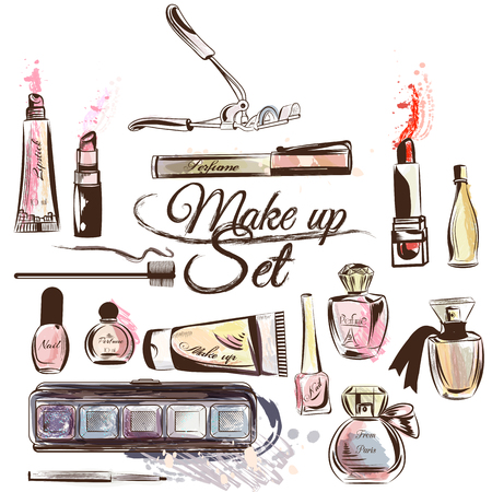 Fashion background with make up accessories mascara perfume lipsticks nail shadows and other