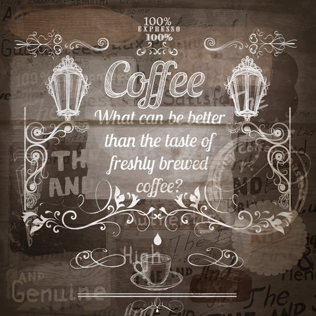 fresh brewed: Coffee grunge advertising poster on a wooden shabby background for antique authentic design