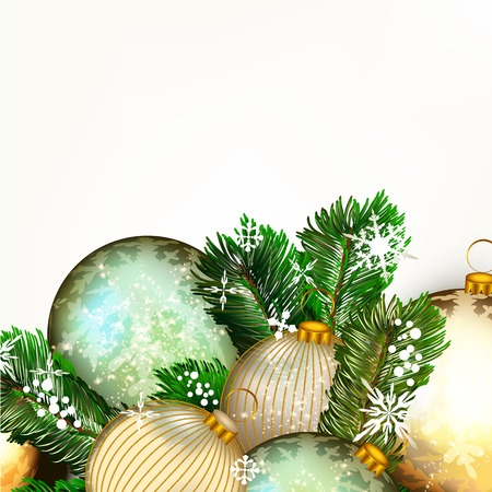glimmered: Christmas or New Year background with golden and blue baubles and Xmas tree green branches