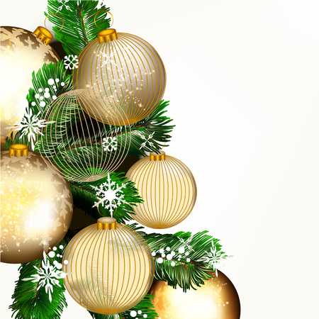 glimmered: Christmas or New Year background with golden baubles and Xmas tree green branches