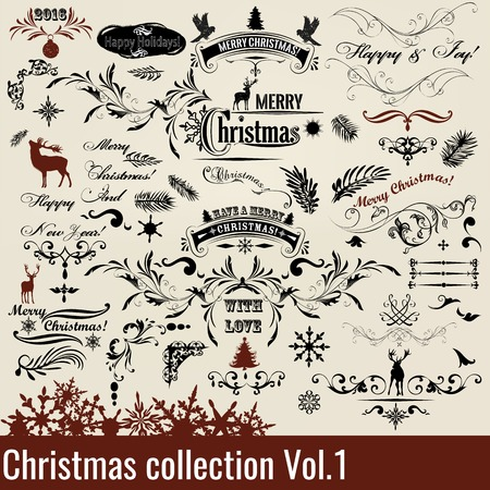 signatures: Christmas set or collection of calligraphic and decorative elements with signatures for design