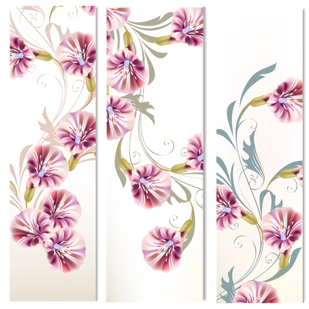 vertical: Floral vertical brochures set with flowers and ornament